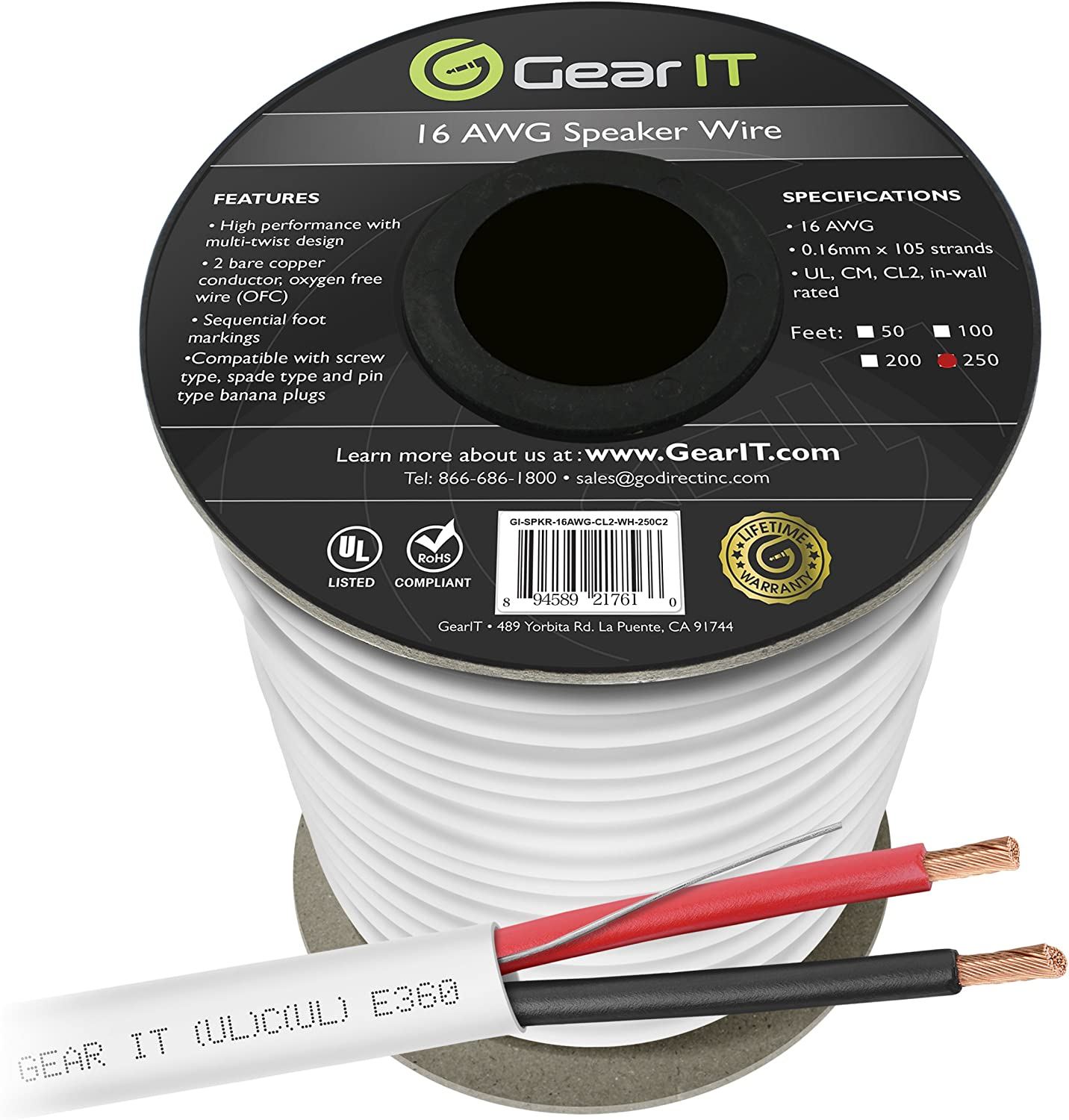 16 AWG CL2 OFC in Wall Speaker Wire, GearIT Pro Series 16 AWG Gauge (250 Feet / 76.2 Meters/White) OFC Oxygen Free Copper UL CL2 Rated in-Wall Speaker Wire Cable for Home Theater and Car Audio