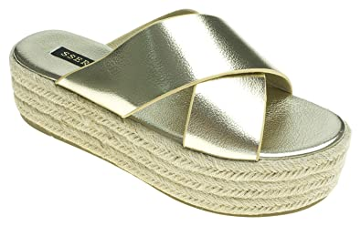 c321a5af227 Image Unavailable. Image not available for. Color  AnnaKastle Womens  Metallic Criss-Cross Strap Espadrille Platform Slide Sandals