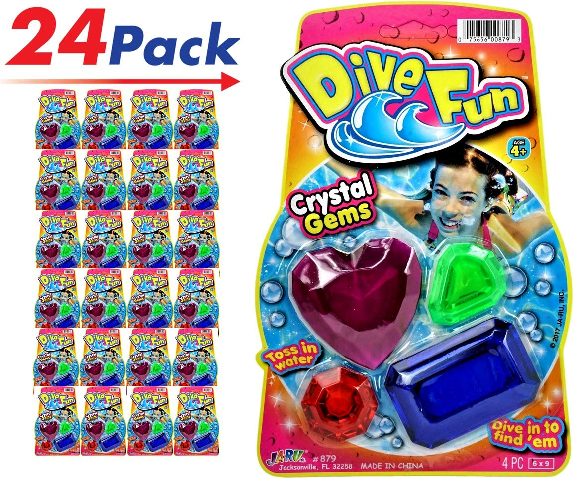 JA-RU Diving Gems Dive Toys (24 Packs 96 Gems) Dive Fun Crystal Gems Swimming Pool Dive or Fun Bath Tub | Plus 1 Collectable Bouncy Ball I Item #879-1 (24 Pack) by JA-RU