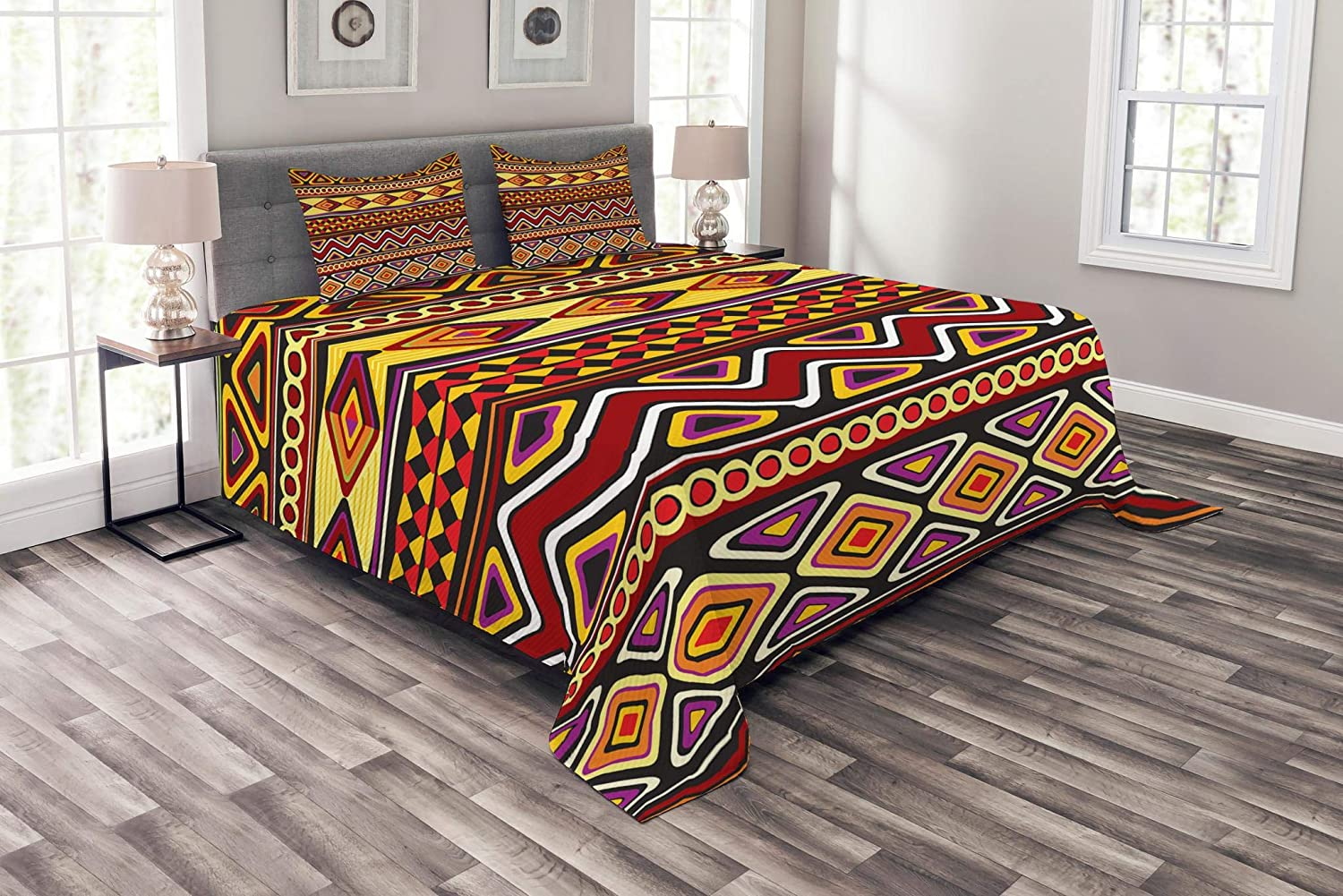 Lunarable African Bedspread, Oriental Patterns with Geometric Ornate Forms and Antique Shapes Retro Art, Decorative Quilted 3 Piece Coverlet Set with 2 Pillow Shams, Queen Size, Yellow Brown