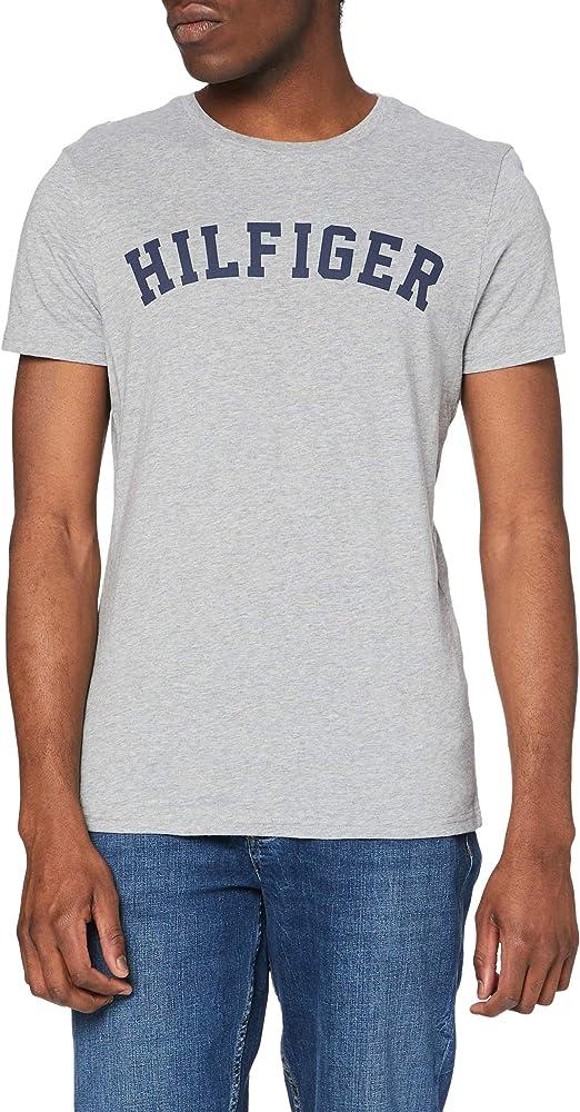 TALLA M. Tommy Hilfiger Logo Camiseta de Cuello Redondo,Perfecta para El Tiempo Libre para Hombre