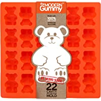 (1) - JUMBO size GUMMY BEAR Mould by the Modern Gummy + Recipe PDF, PROFESSIONAL GRADE PURE LFGB SILICONE, 22 cavity, Candy, Soap Moulds, Jello Shots, Cupcake topper, Chocolate Making, Ice tray (1)