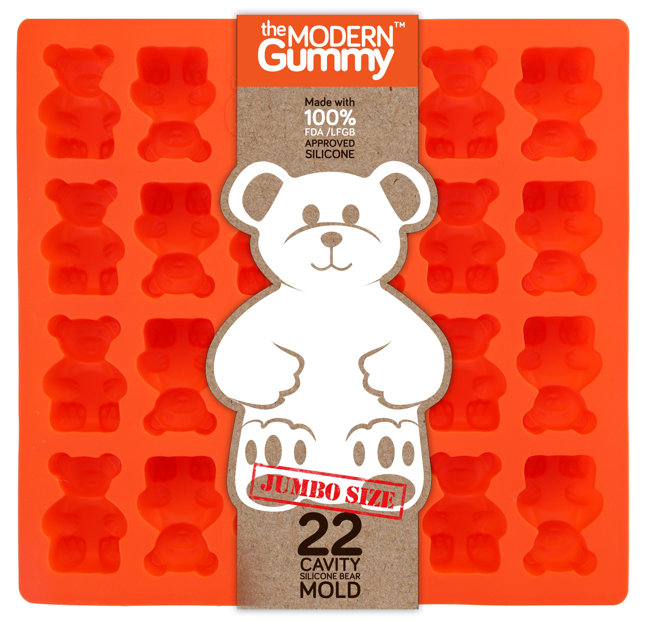 JUMBO size GUMMY BEAR Mold by the Modern Gummy + Recipe PDF, PROFESSIONAL GRADE PURE LFGB SILICONE, 22 cavity, Candy, Soap Molds, Gelatin Shots, Cupcake topper, Chocolate Making, Ice tray (1)