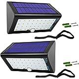 JACKYLED 4000mAh Solar Motion Sensor Lights Outdoor Solar Step Lights 35 LED Waterproof Deck Lights with USB Charging…