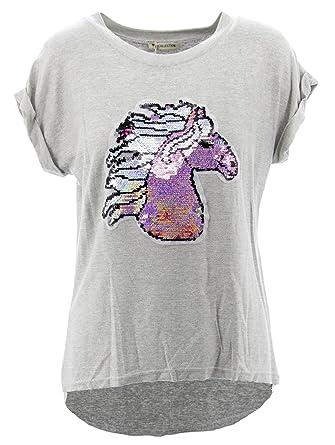 Netgozio Camiseta Camisa asimétrica con Gris Diseño Figuras Strass grigio2 Un Tamaño: Amazon.es: Ropa y accesorios