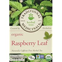 Traditional Medicinals Organic Raspberry Leaf Herbal Tea Caffeine Free, 16 ct. (Pack Of 3)