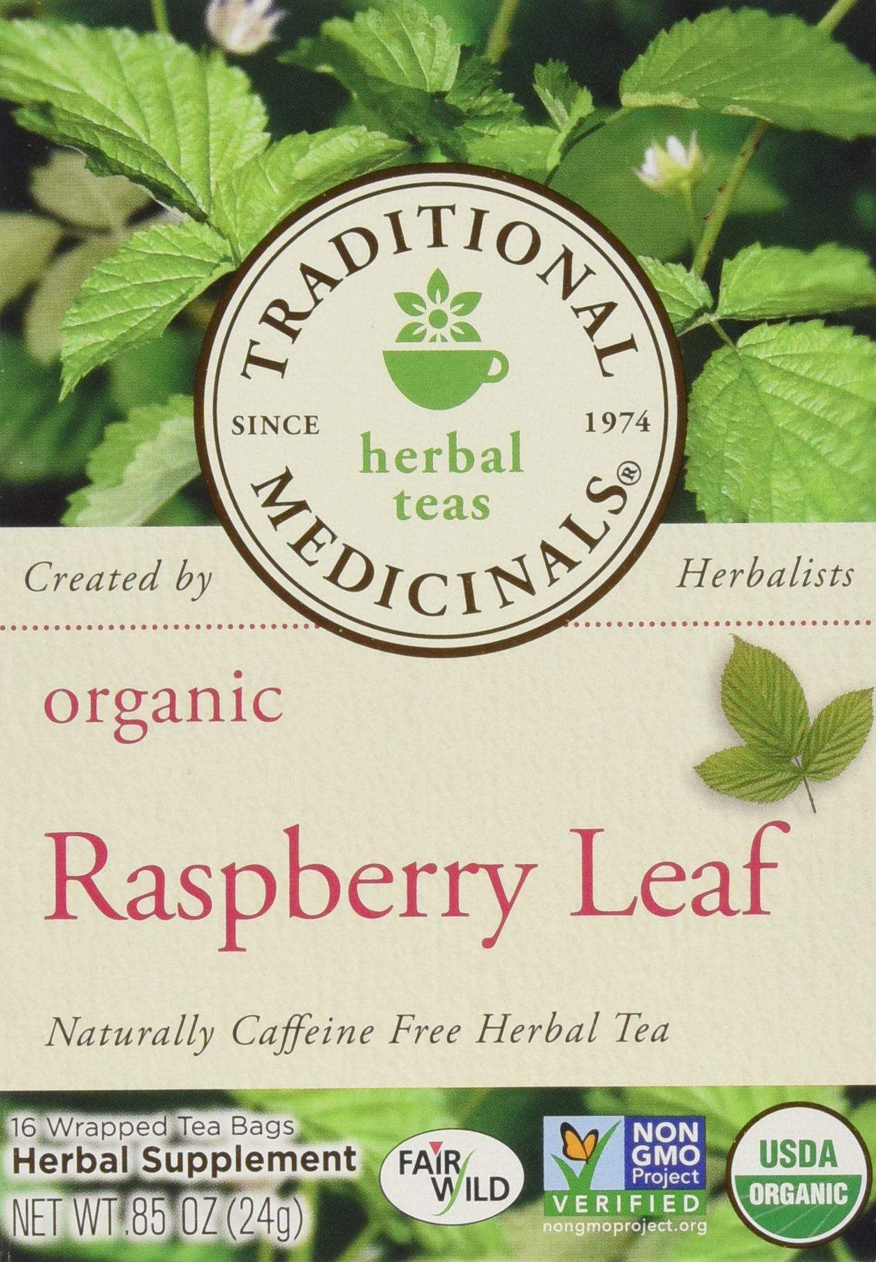 Traditional Medicinals Organic Raspberry Leaf Herbal Tea Caffeine Free 16 Bags Pack of 3 by Traditional Medicinals