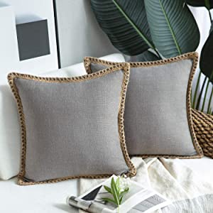 Phantoscope Pack of 2 Farmhouse Decorative Throw Pillow Covers Burlap Linen Trimmed Tailored Edges Grey 22 x 22 inches, 55 x 55 cm