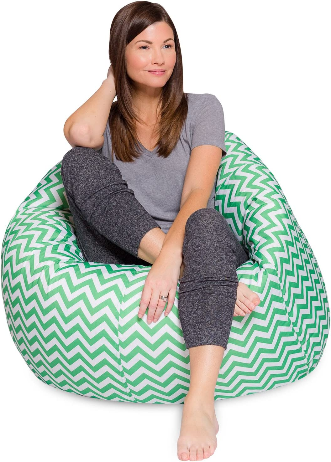 Posh Beanbags Big Comfy Bean Bag Posh Large Beanbag Chairs with Removable Cover for Kids, Teens and Adults Polyester Cloth Puff Sack Lounger Furniture for All Ages, 48in Extra, Chevron Green and White