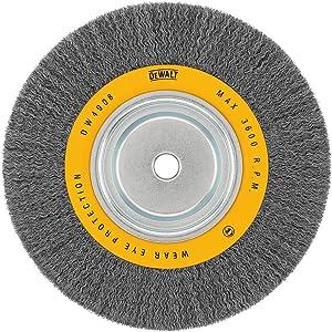 DEWALT DW4908 10-Inch Crimped Bench Wire Wheel, 3/4-Inch Arbor, Wide Face .014-Inch Wire
