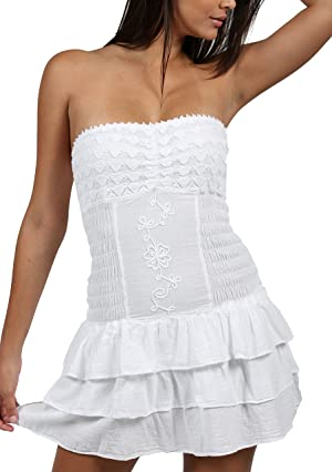 Cotton Natural Casual Dress Summer Beach Fashion Embroidered Cover Up Sundress (Xlarge, White)