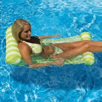 Water Hammock,SHZONS Pool Lounger Float Inflatable Raft Bed Swimming Pool Air Floating Chair Compact Portable Swimming Pool Mat for Adults Kids with A Small Pump
