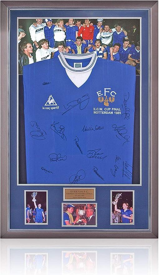 BSM Everton 1985 Squad Hand ECWC Final LED Lit Camisa firmada a mano por 15 Foto COA: Amazon.es: Deportes y aire libre