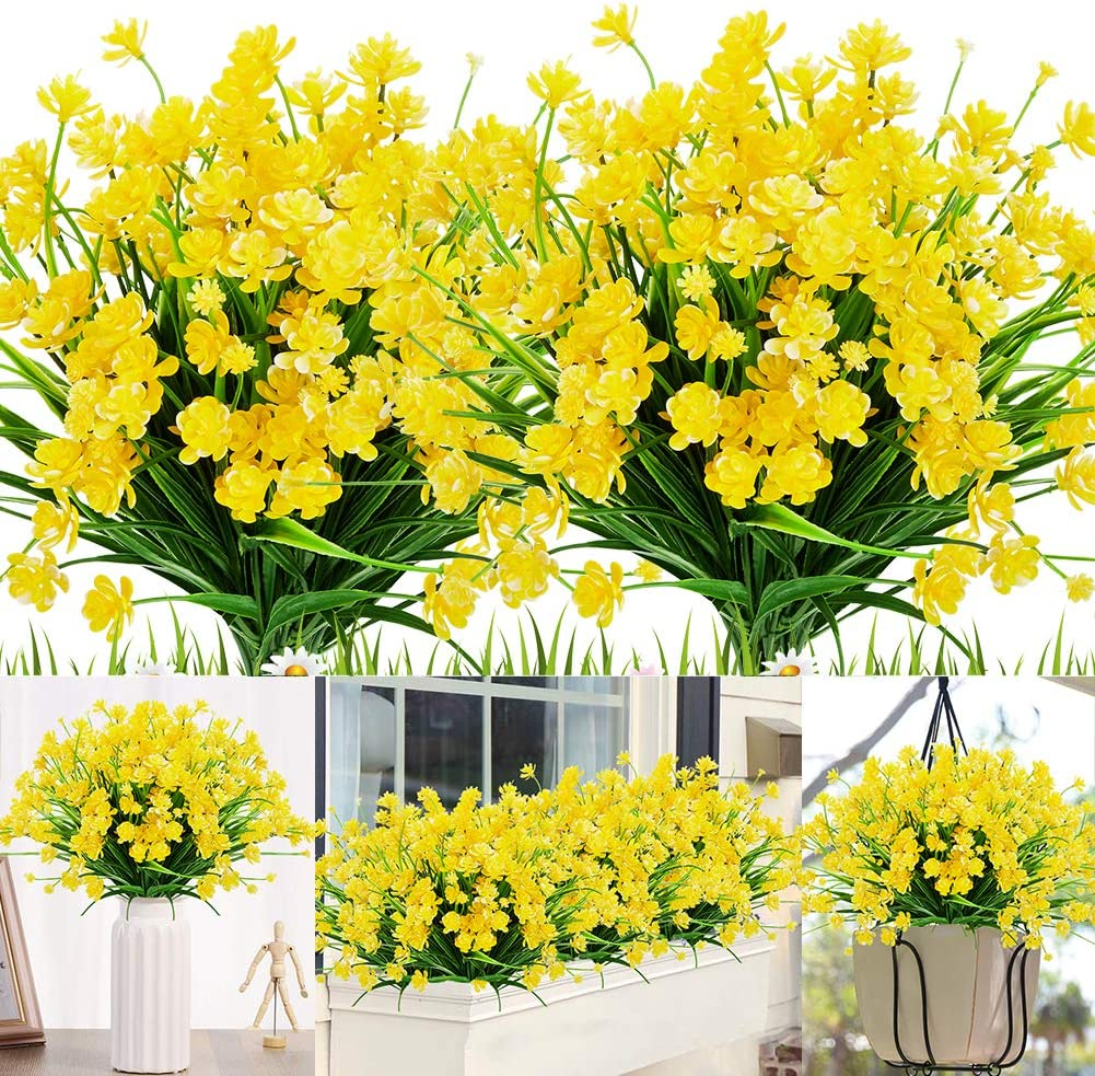 KLEMOO 20 Bundles Artificial Outdoor Flowers Fake UV Resistant No Fade Greenery Faux Plants Shrubs for Indoor Outside Hanging Planter Home Office Wedding Farmhouse Decor (Yellow)