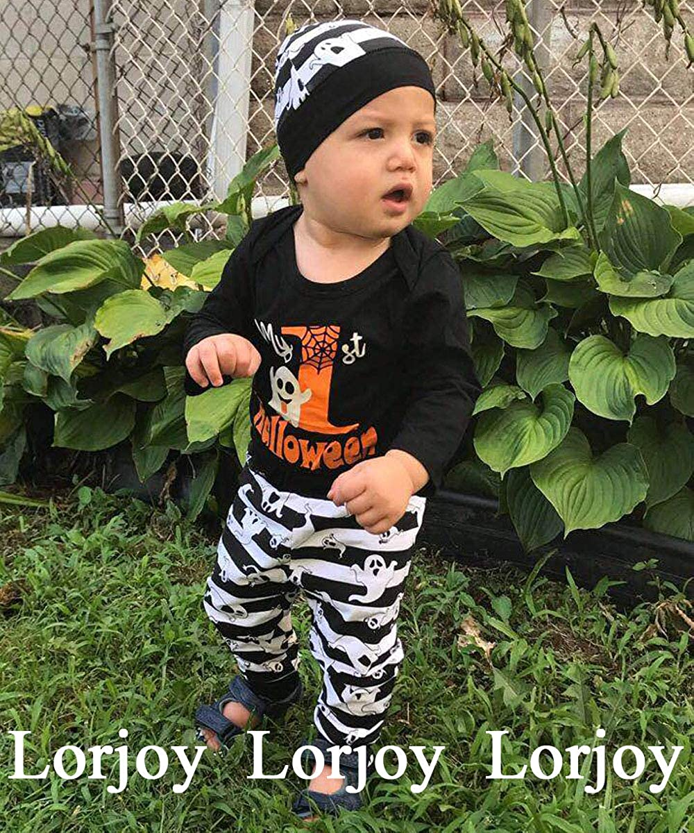 Baby Boys Girls My First Halloween Outfit Set Pumpkin Romper Ghosts Pants and Hat