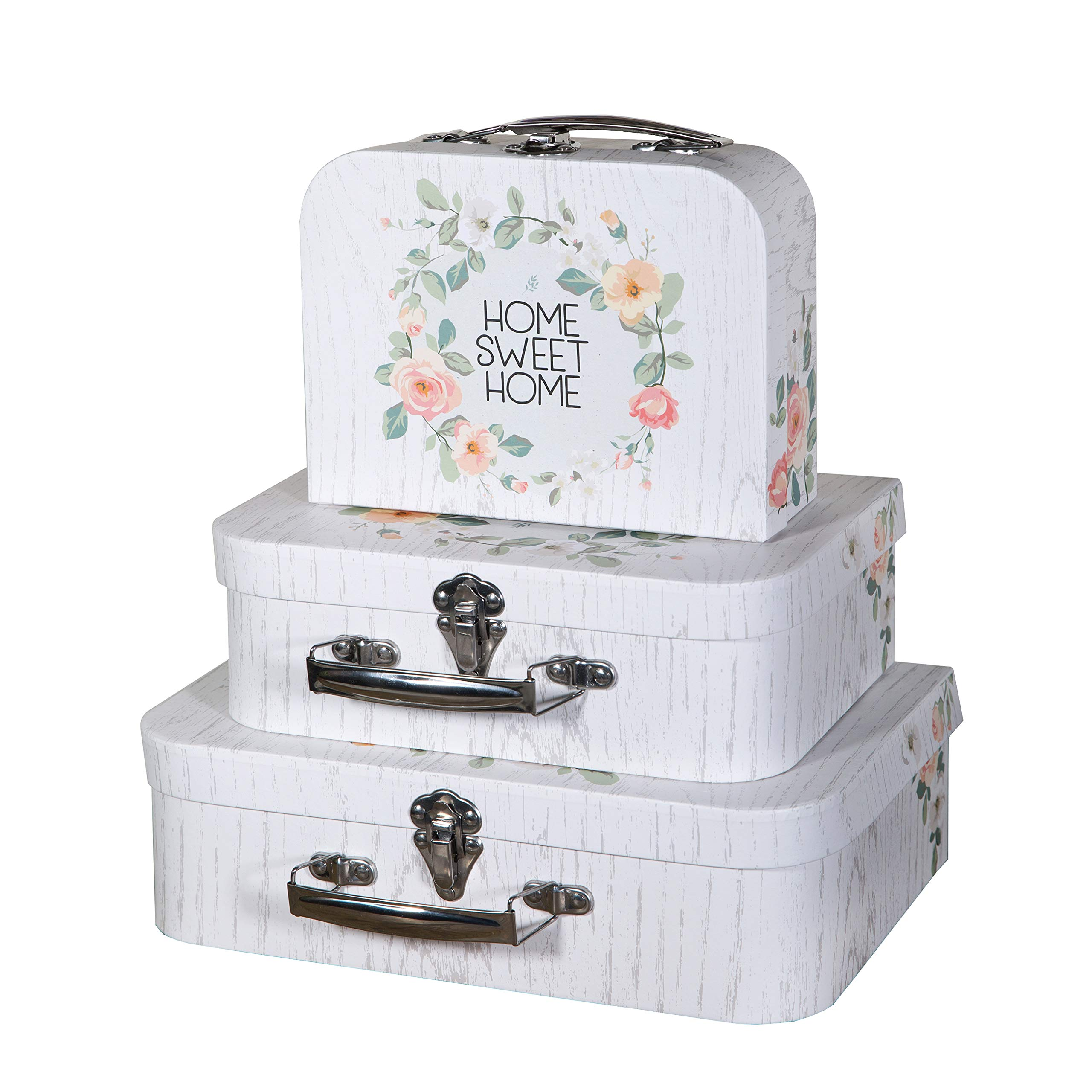 Soul & Lane Decorative Storage Cardboard Suitcase Boxes (Set of 3) | Home Sweet Home Pattern | Farmhouse Paperboard Boxes with Lids