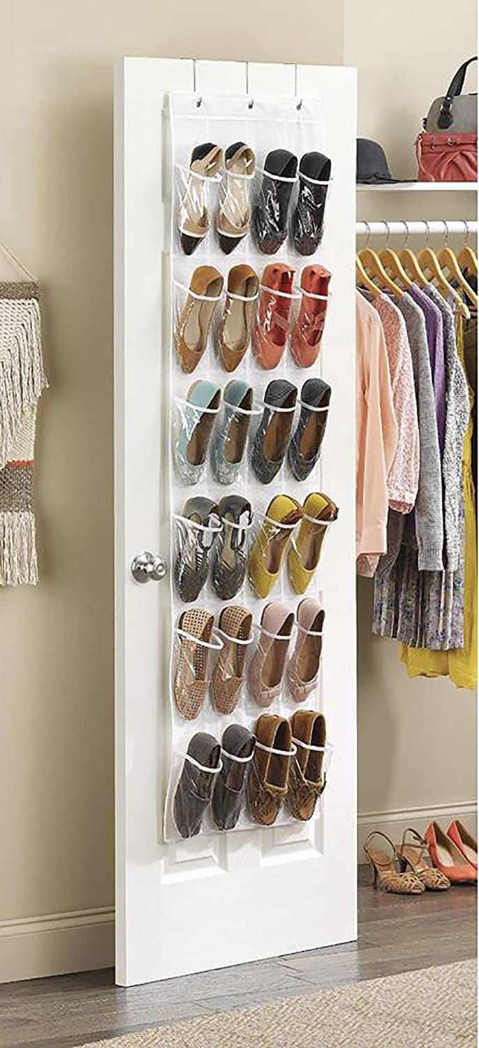 Over the Door Shoe Organizer, Everesta Large Sturdy Shoe Rack with 24 Pocket Shoe Storage Solution and 3 Metal Over the Door Hooks