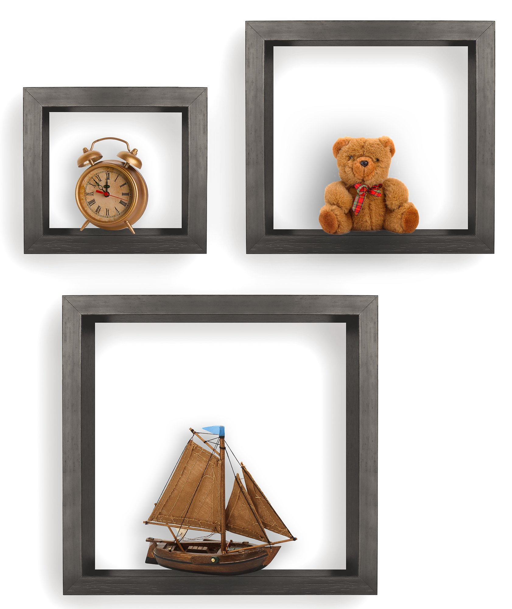 Greenco Set of 3 Floating Cube Shelves, Espresso Finish - Set of 3 size shelves Made of durable MDF laminate Beautiful espresso finish that suits almost any decor Easy to mount with all necessary hardware Included - wall-shelves, living-room-furniture, living-room - 81kjlaH bVL -