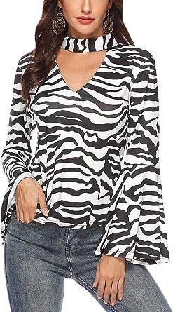 Camiseta Casual De Mujer Zebra Floral Halter Manga Campana V Cuello Tops: Amazon.es: Ropa y accesorios