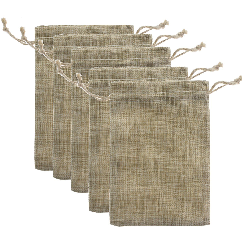 20 Pcs Faux Burlap Bags Wedding Paty Favor Small Gift Drawstring Sack (5''X7'')