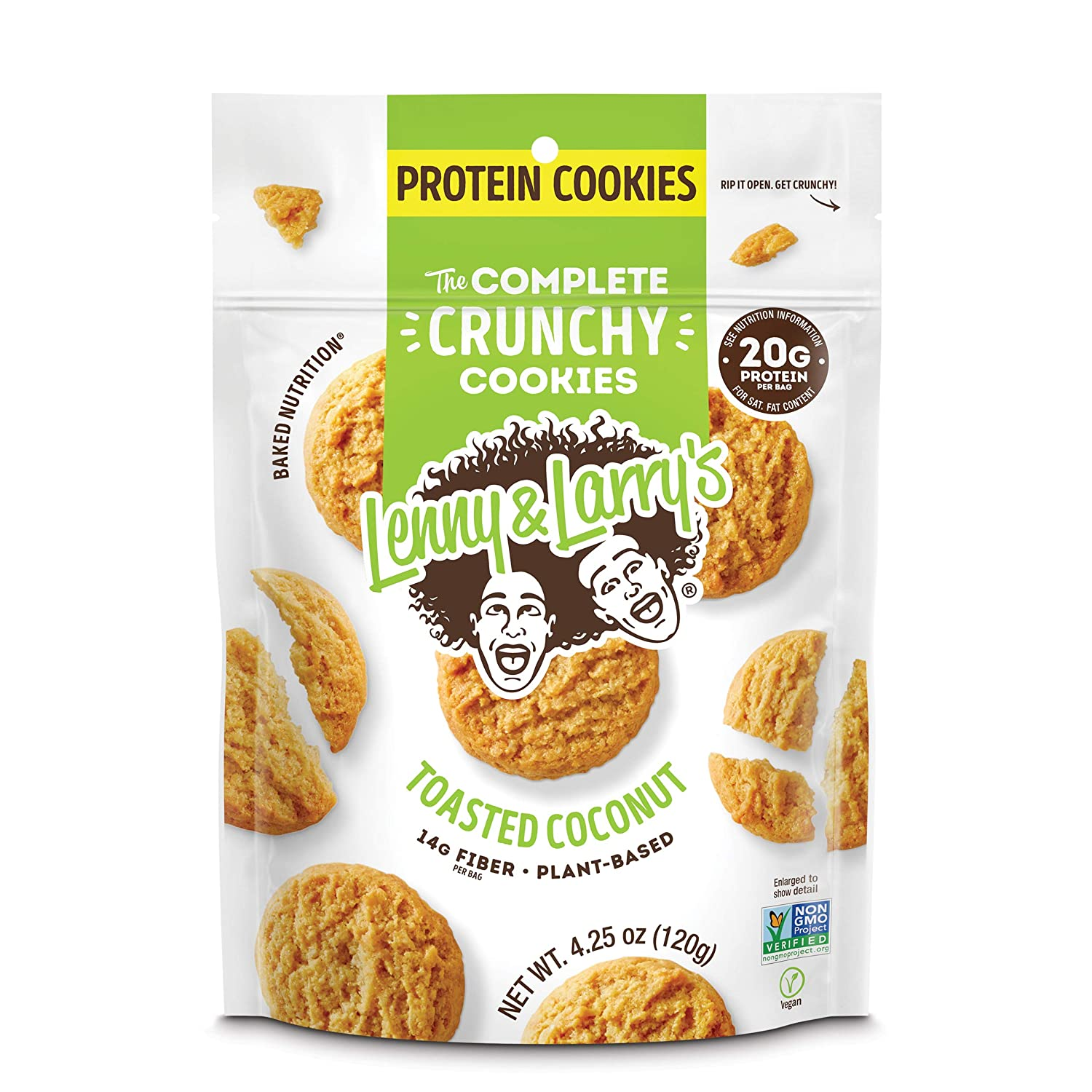 Lenny & Larry's The Complete Crunchy Cookies, Toasted Coconut, 20g Vegan Protein, 4.25oz Multi Serve Bag, 6 Count