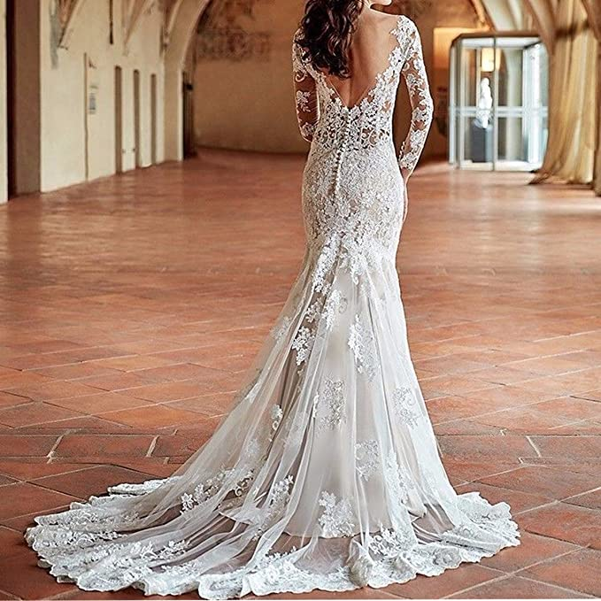 b7f19a6a66 Yuxin Women s Illusion Long Sleeves Lace Mermaid Wedding Dress Appliques V  Cut Backless Bridal Gowns at Amazon Women s Clothing store