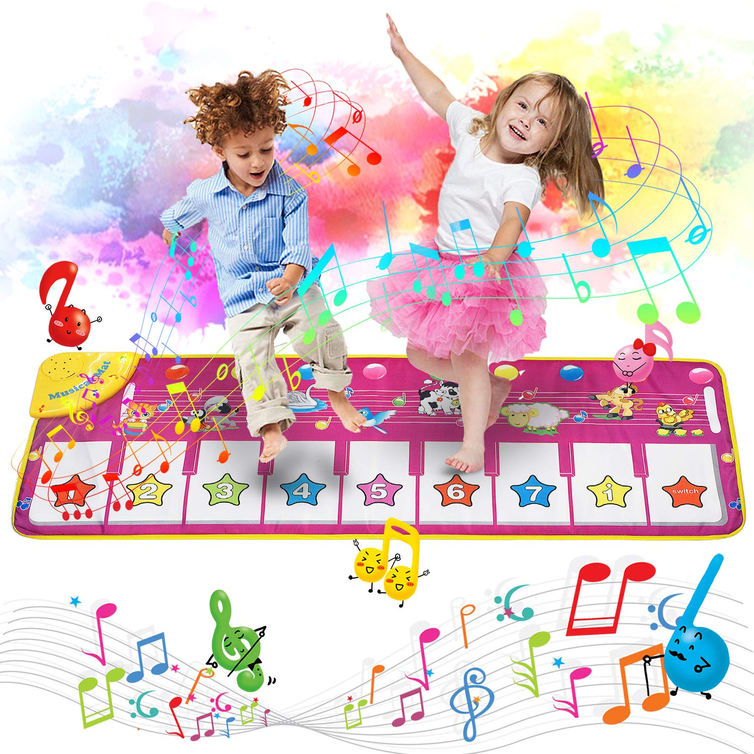 Music Piano Mat, Musical Mat Keyboard Playmat Electronic Music Carpet Touch Play Blanket 39.4''X14.2'', 8 Animal Sound Options Build-in Speaker&Demo, Xmas Gifts Toys for Girls Boys Toddlers Kids by MOZOOSON