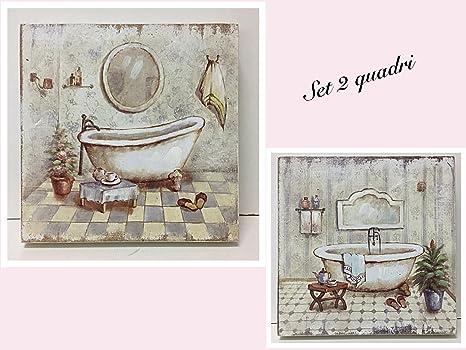 Vasca Da Bagno Retro : Set 2 quadri bagno stampa su legno vasca da bagno retrò cm 20x20