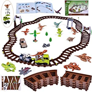 Train Building Set with Dinosaur Building Block Toys, Building Tracks, Building Bricks Train Toy Stocking Stuffers for Boys and Girls 385 Pieces