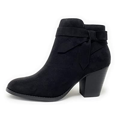 City Classified Arden-S Womens Ankle Booties with Low Stack Block Heel | Ankle & Bootie