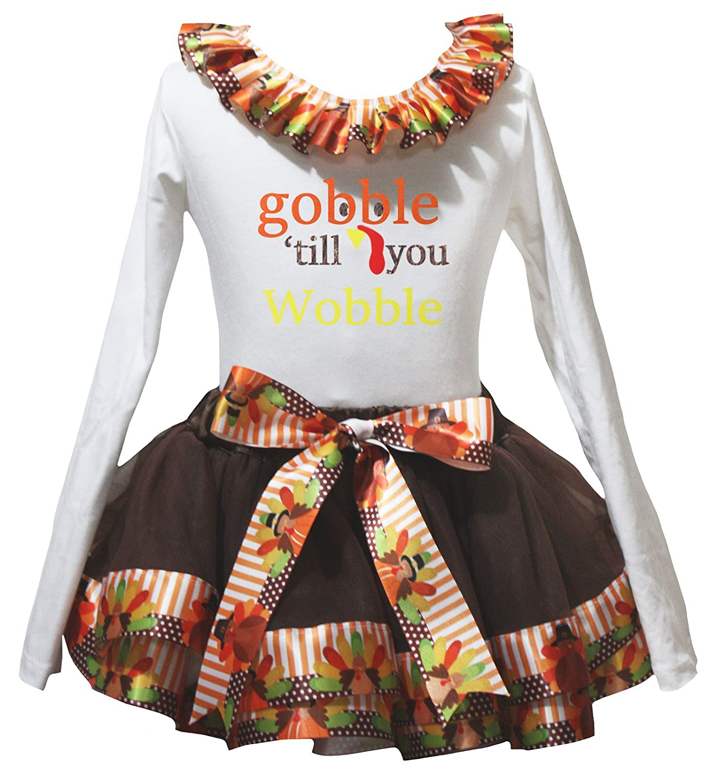 Petitebella Gobble Wobble Turkey White L//S Shirt Brown Turkey Petal Skirt Nb-8y
