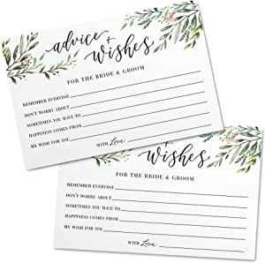 J&A Homes Advice and Wishes Cards Set of 50 – Wedding Advice Cards for Bride and Groom Shower Bridal – Wedding Guestbook Alternative Unique Activity – Greenery 4