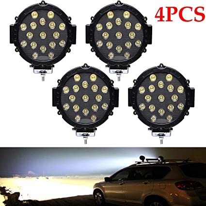 4pack 7 Inch 51w Round Led Off Road Lights Waterproof Driving Offroad Foglight For Jeep Boat Truck Atv Car Suv 12v 24v Black