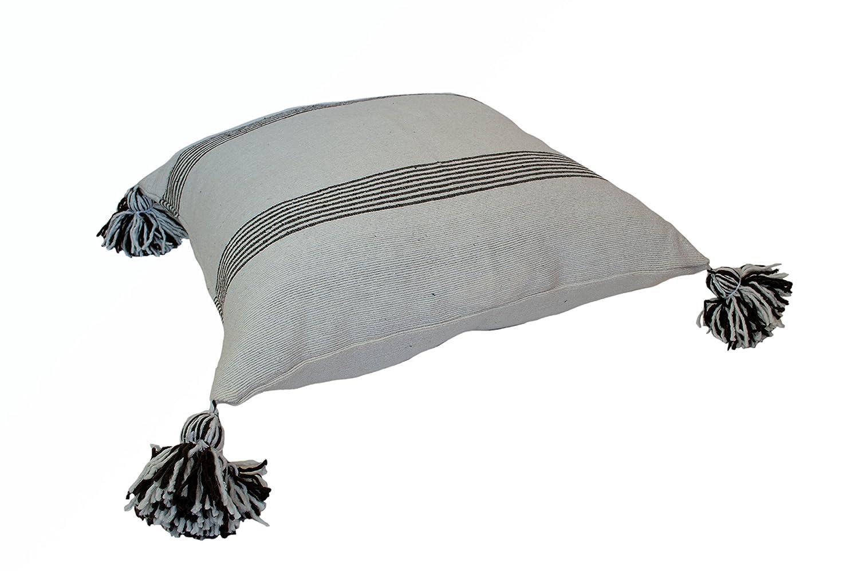 カサブランカ市場bp0351モロッコPom枕ブラウンにストライプホワイト、ブラウン/ホワイト B01N9IKXGW