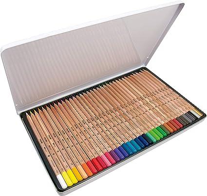 Caja metálica 36 lápices de colores con mina grande Ø3,3 mm 213, multicolor: Amazon.es: Oficina y papelería