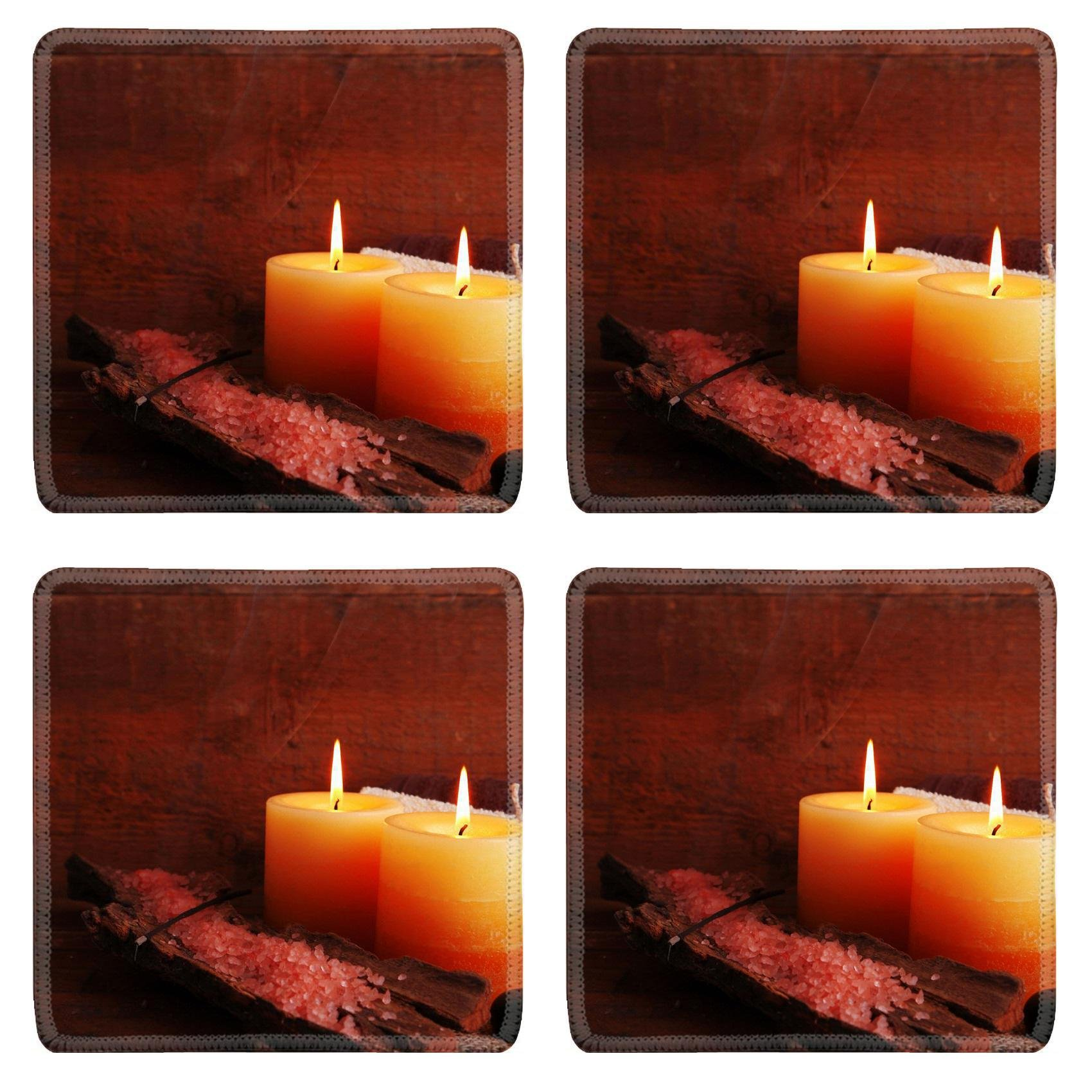 MSD Square Coasters Non-Slip Natural Rubber Desk Coasters design 34002625 Spa stones with candles and sea salt on wooden background