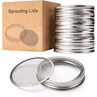 HENMI Sprouting Lids for Wide Mouth Mason Jars Canning Jar 304 Stainless Steel Sprouting Jar Lid Kit Sprout Germinator Set to Grow Your Own Organic Sprouts,6Pack(Jar not Included)
