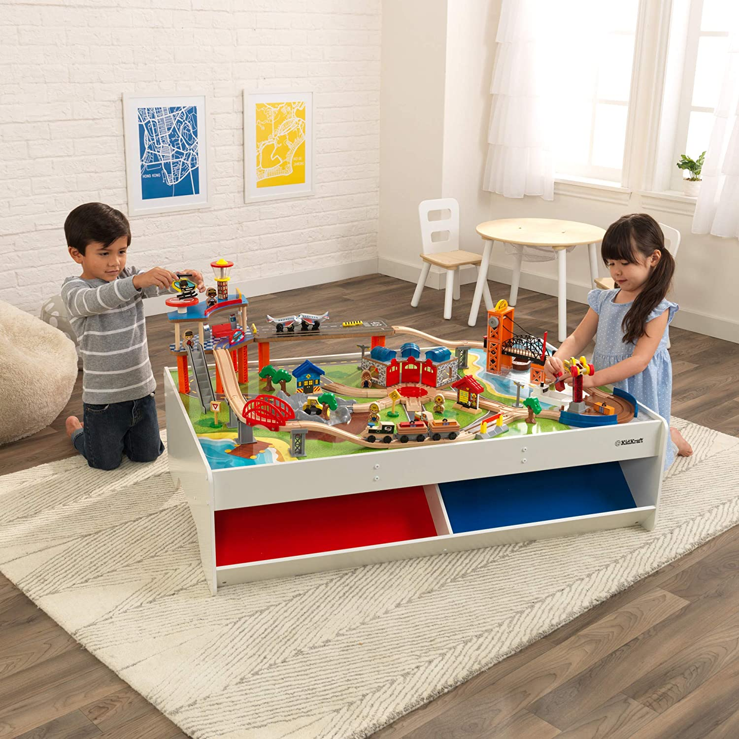 Kidkraft Railway Express Wooden Train Set Table With 79 Pieces And Two Storage Bins Multicolor 83 9 X 31 1 X 13 18012 Toys Games Amazon Com
