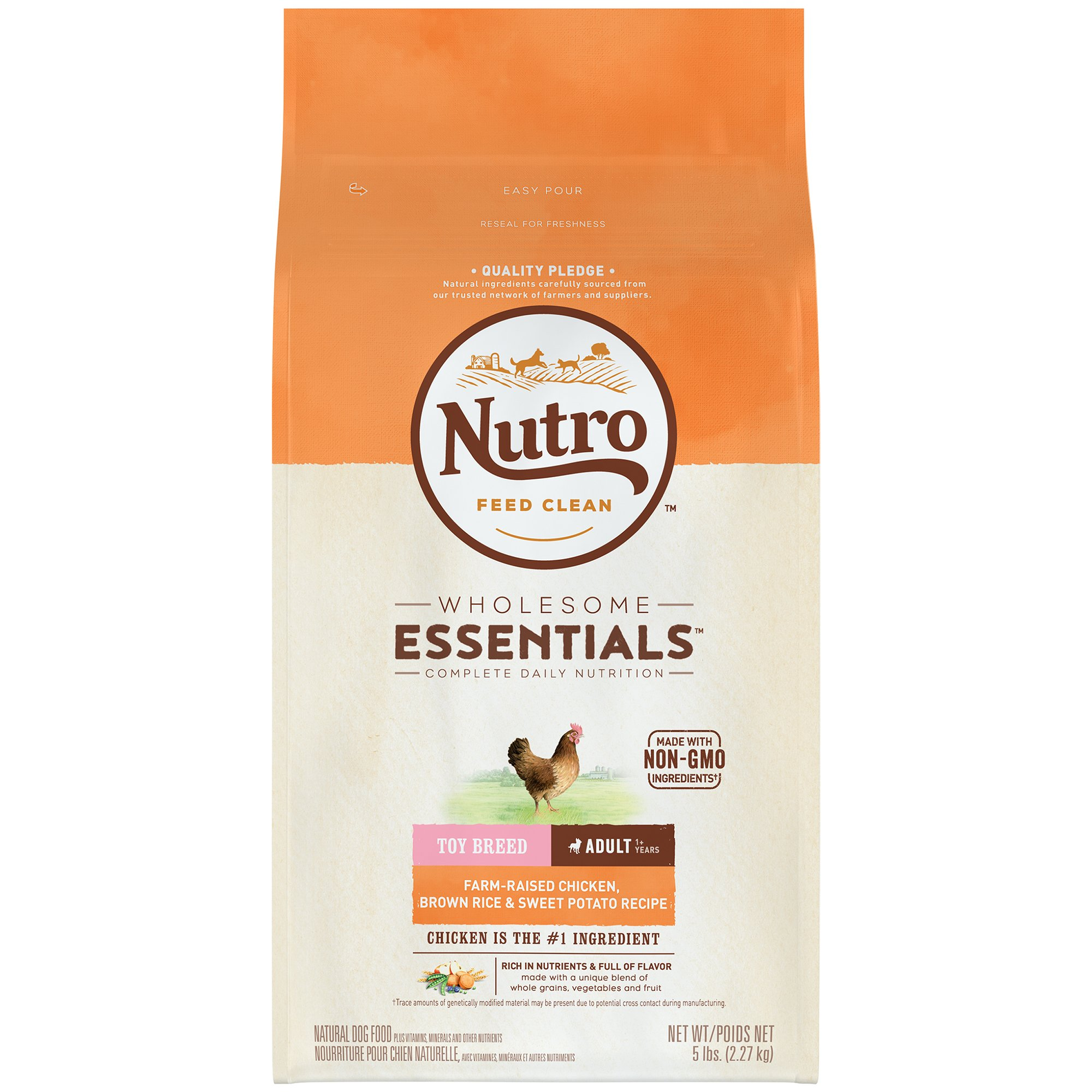 Nutro Wholesome Essentials Toy Breed Adult Farm-Raised Chicken, Brown Rice & Sweet Potato Recipe 5 pounds