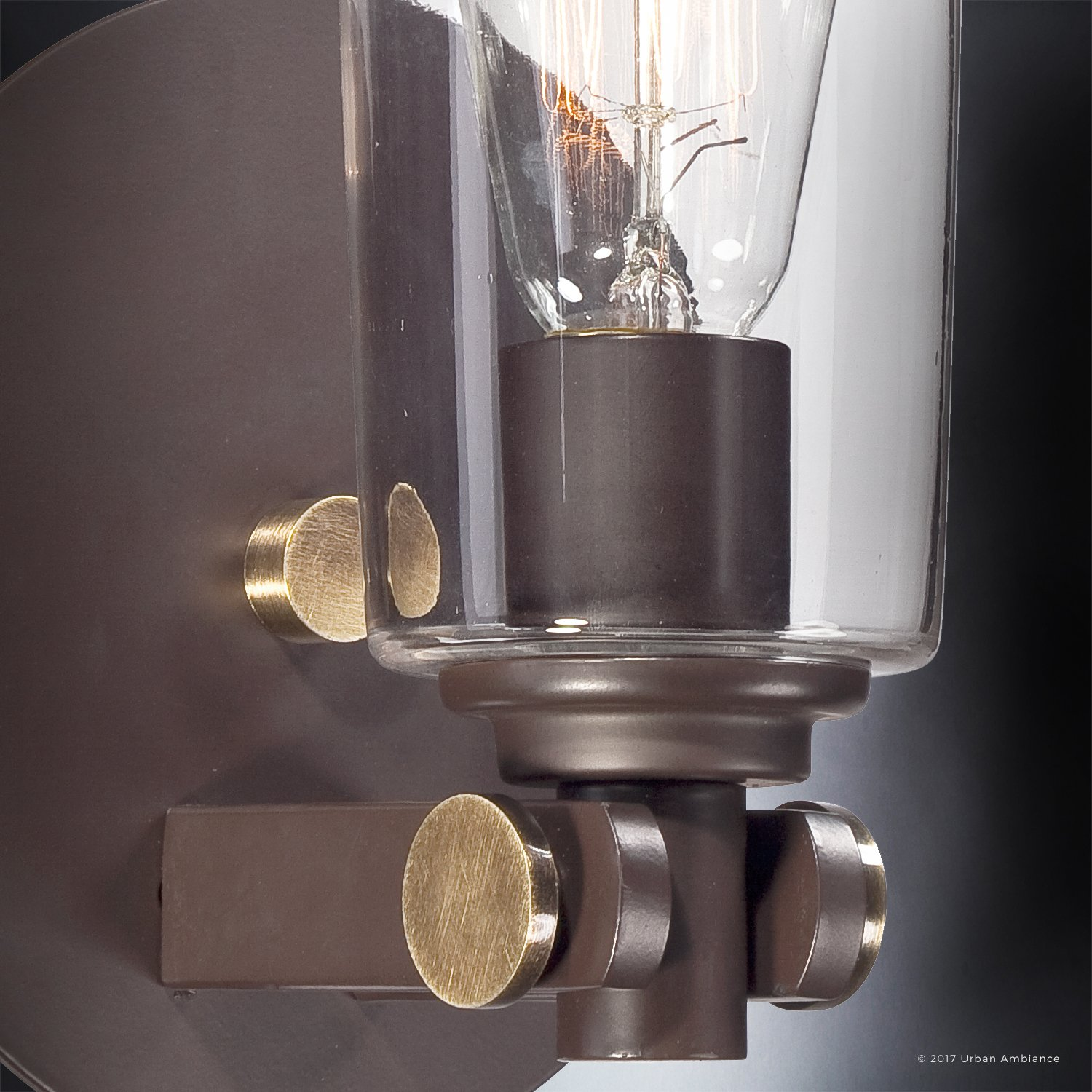 Luxury Vintage Indoor Wall Light, Small Size: 11''H x 6.5''W, with Casual Style Elements, Retro Design, Elegant Estate Bronze Finish and Clear Glass, Includes Edison Bulb, UQL2690 by Urban Ambiance by Urban Ambiance (Image #6)