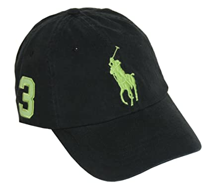 Polo Ralph Lauren Men Big Pony Logo Hat Cap (One size, Black/Green