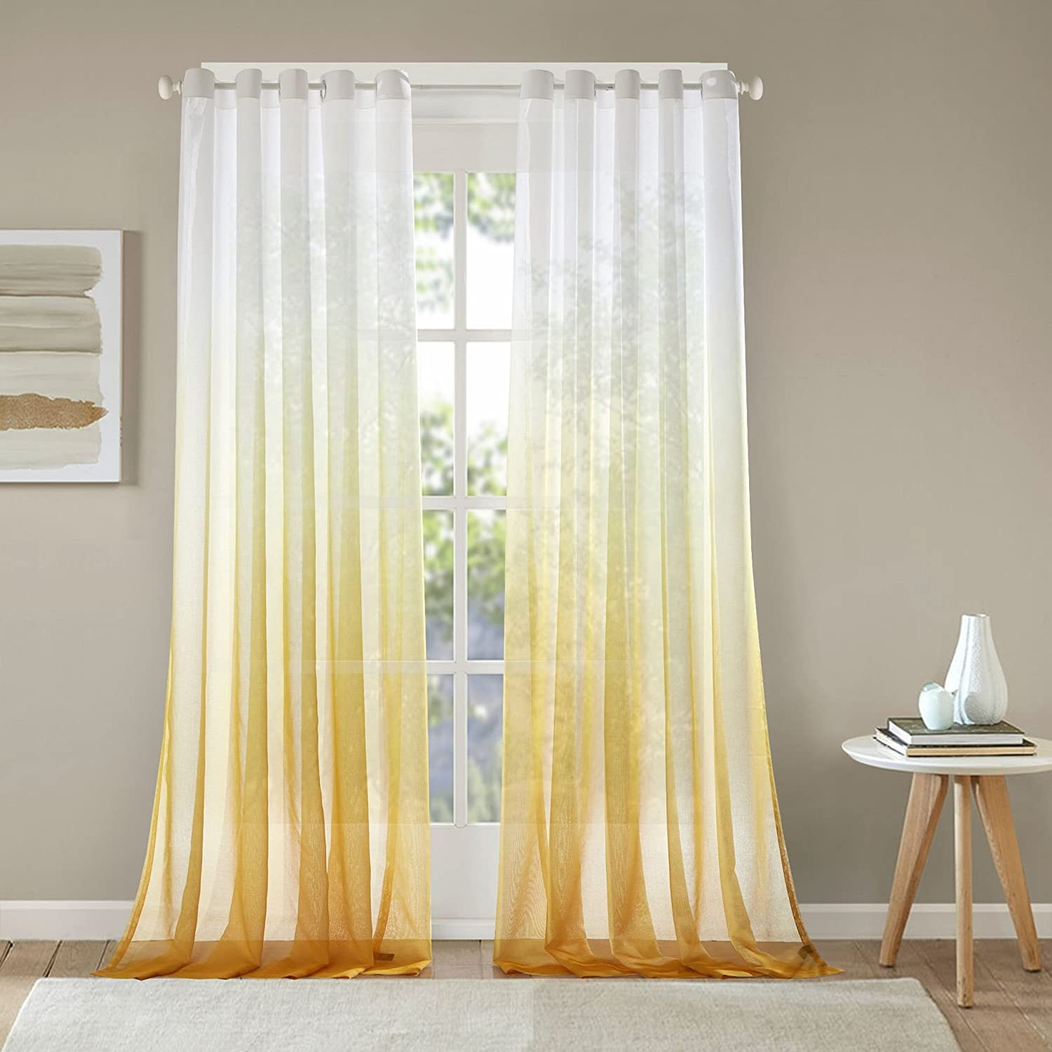 LIYAXUN Grommet Top Transparent Decoration Curtain Printing of Polyester Multi Size Custom Sheer Curtains/Drapes 42 W x 63 L(One Panel),Grey