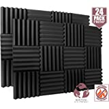 """24 Pack Acoustic Foam Panels 2"""" X 12"""" X 12"""" Fireproof - SGS Certified - Soundproofing Studio Foam Wedge Tiles - Top Quality - Ideal for Home & Studio Sound Insulation High Density 1,57 pound/CBF"""