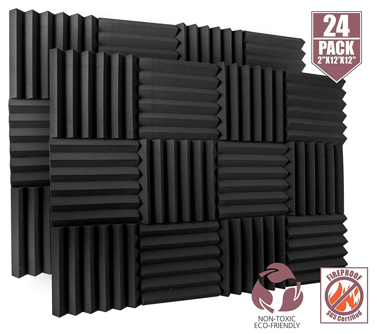 "24 Pack Acoustic Foam Panels 2"" X 12"" X 12"" Fireproof - SGS Certified - Soundproofing Studio Foam Wedge Tiles - Top Quality - Ideal for Home & Studio Sound Insulation High Density 1,57 pound/CBF 81kjwUfN4%2BL"