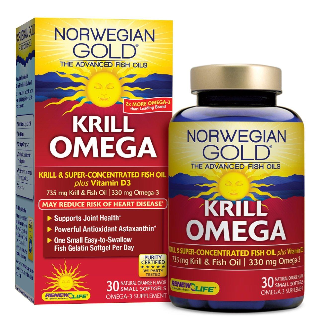 Norwegian Gold - Krill Omega - Krill & Fish Oil supplement - 30 softgel capsules - Renew Life brand
