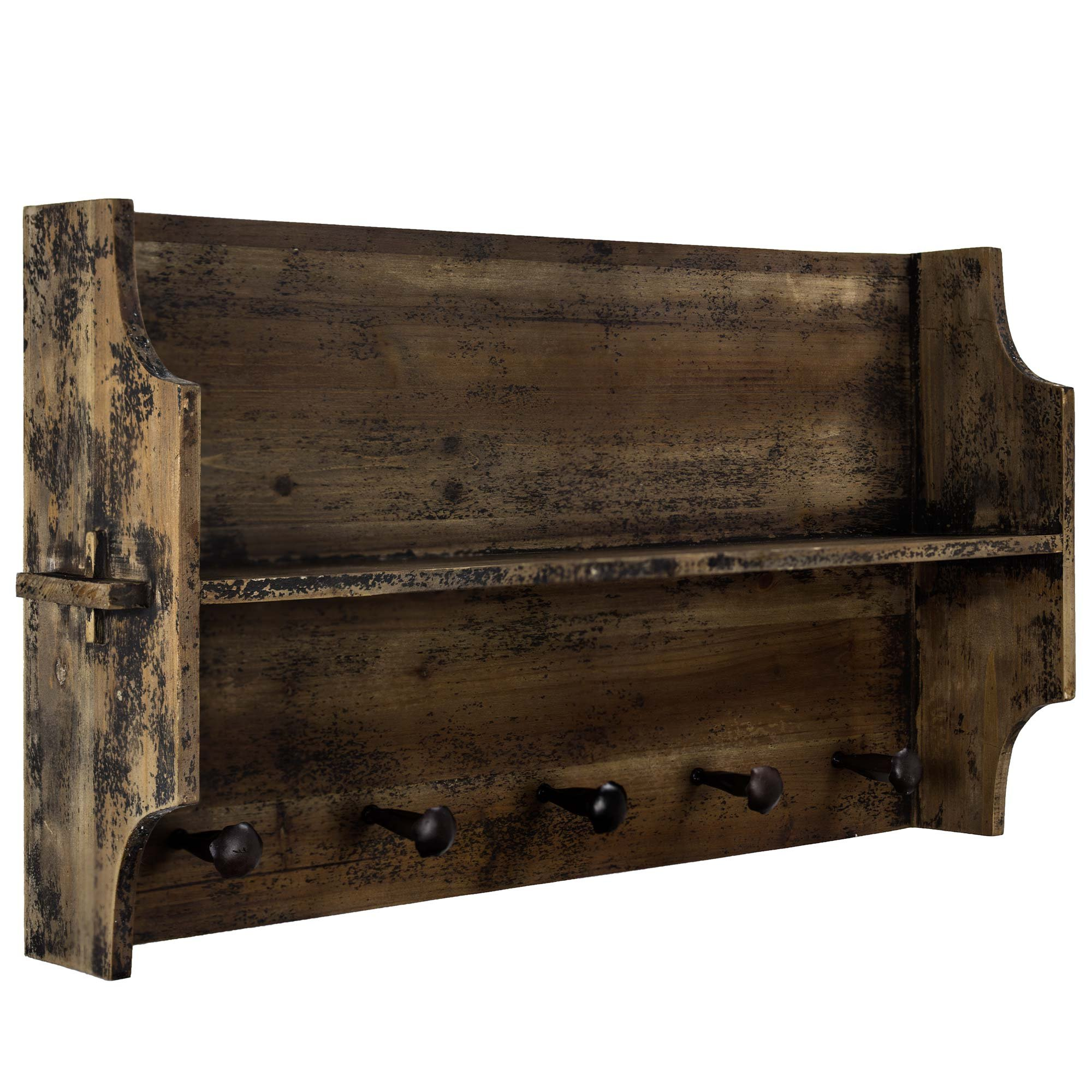 American Art Décor Rustic Wood Storage Shelf with 5 Hook Coat Rack Vintage Country Farmhouse Decor