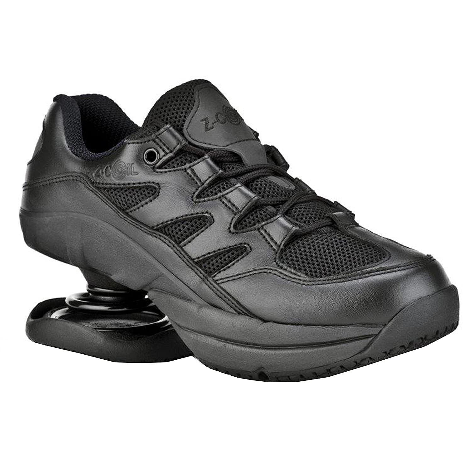 Z CoiL Pain Relief Footwear Women's Freedom Slip Resistant Black Leather Tennis Shoe