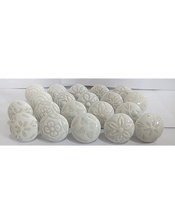 20 x Mix Vintage Look blanco de cabello para hombre crema flor pomos de cerámica tirador