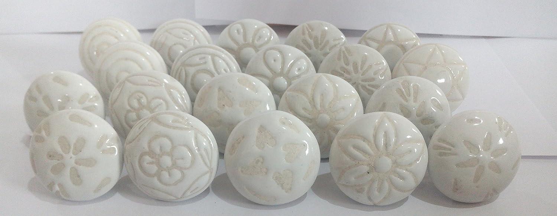 20 X Mix Vintage Look White Creame Creme Flower Ceramic Knobs Door Handle Cabinet Drawer Cupboard Pull