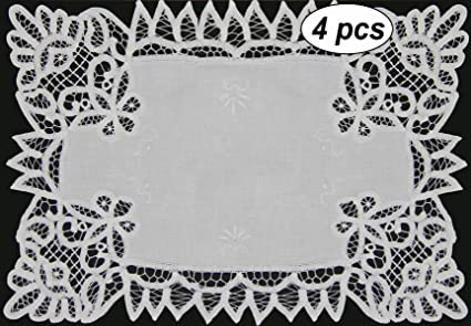 """Kitchen & Table Linens Reasonable White Vintage Hand Crochet Tray Cloth Aprox 22"""" X 18"""" Linens & Textiles (pre-1930)"""